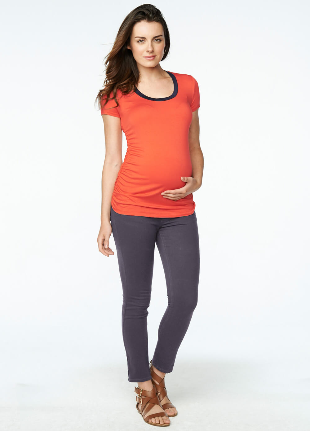 Skinny Maternity Ankle Jeans in Cement Grey by Maternal America