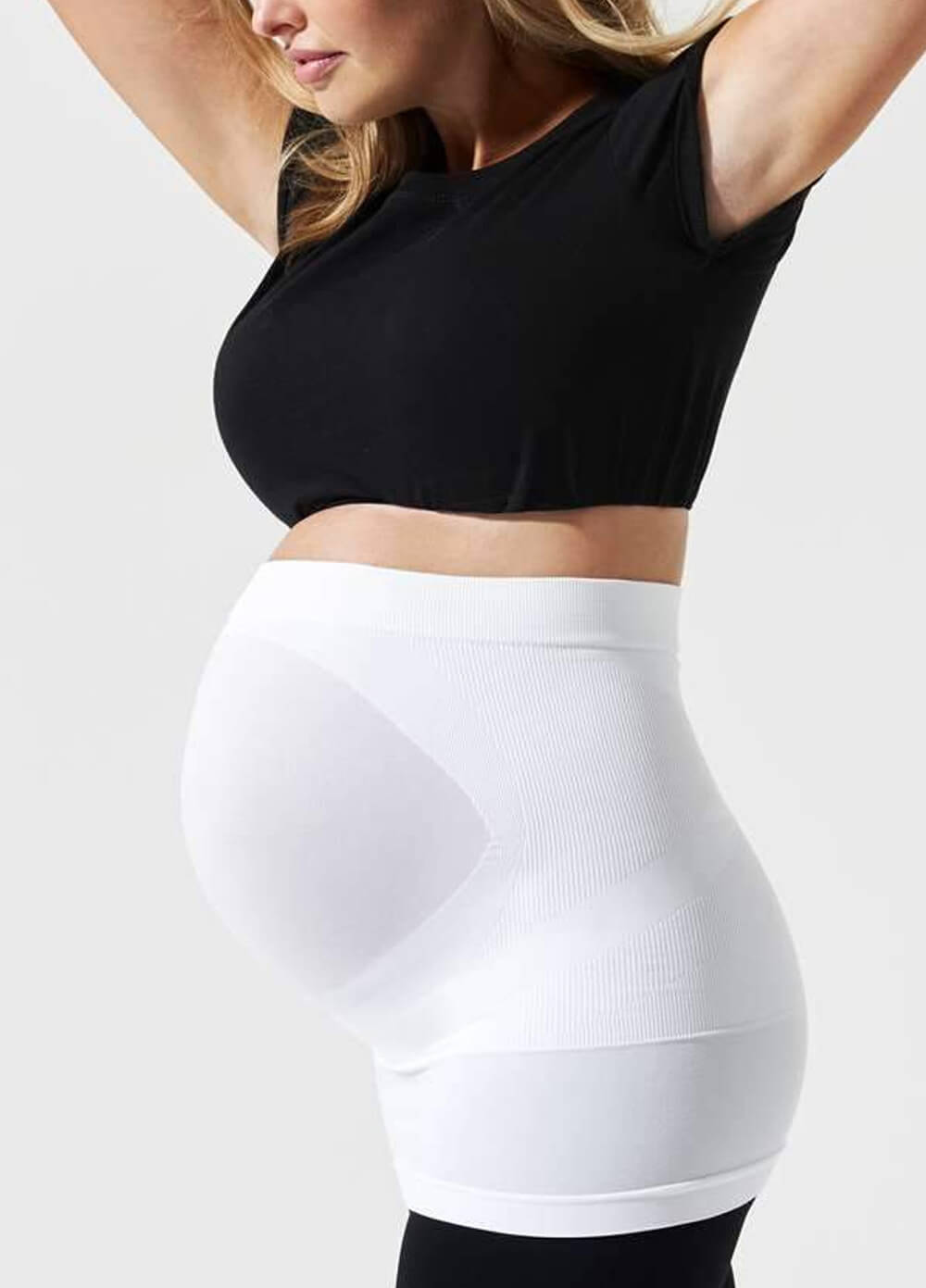 Built-in Support Maternity Belly Band in White by Blanqi