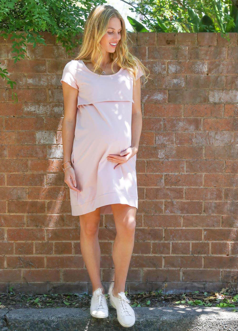 Iconic Mama Journey Dress in Dusty Pink by Trimester