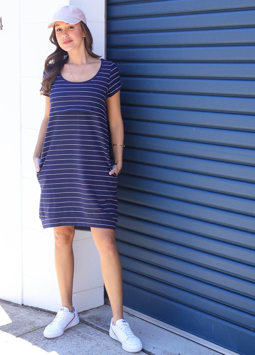 Iconic Mama Journey Dress in Navy Stripes by Trimester
