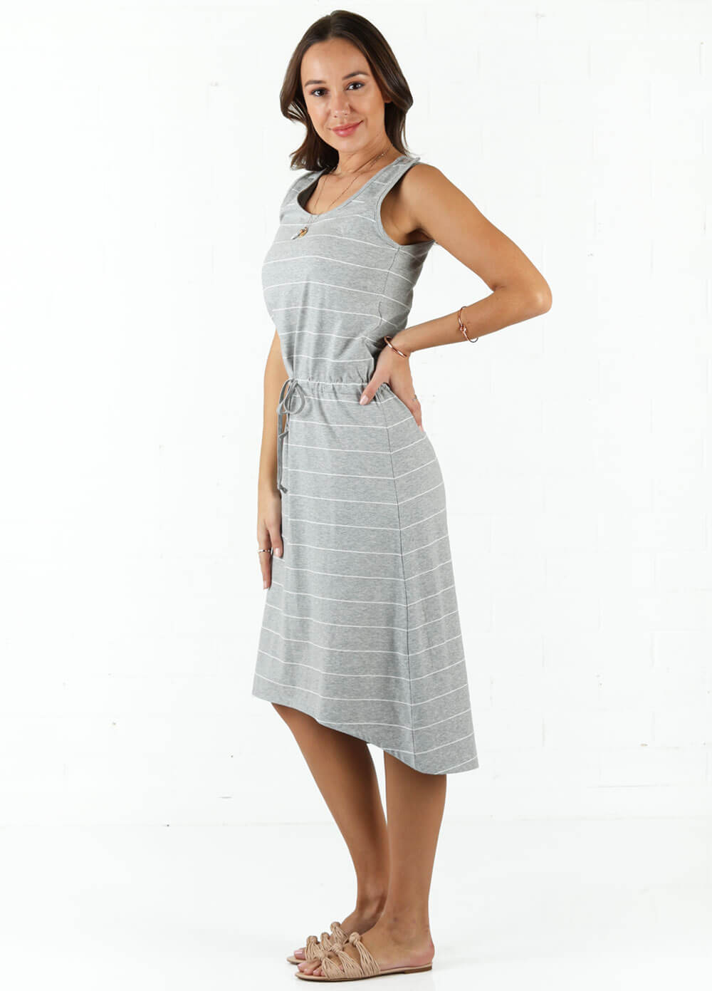 Cooper Postpartum Drawstring Feeding Dress by Trimester