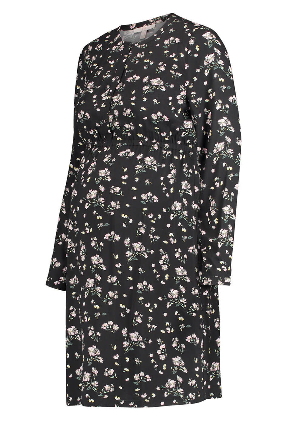 Viscose Maternity Nursing Dress in Black Floral by Esprit