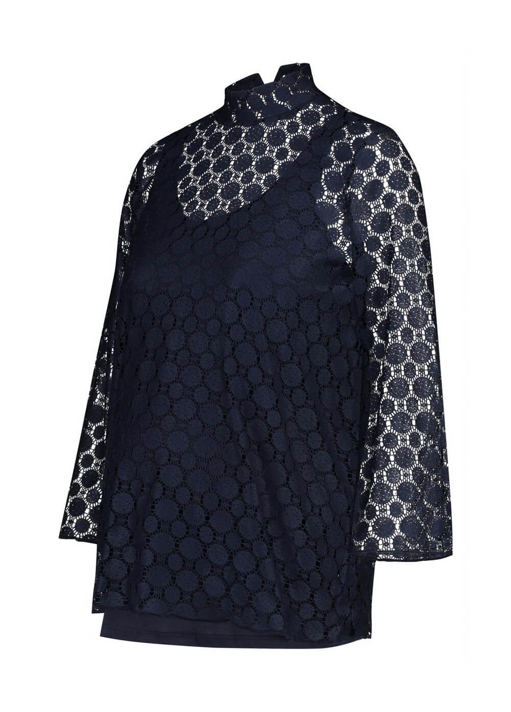 Mae Openwork Lace Maternity Blouse in Dark Blue by Noppies
