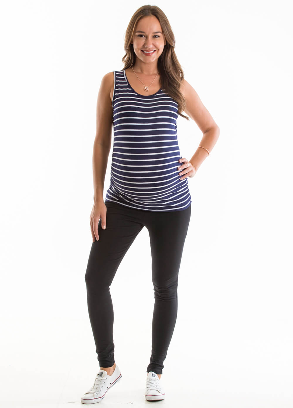 Arles Maternity Tank Top in Navy Stripes by Lait & Co