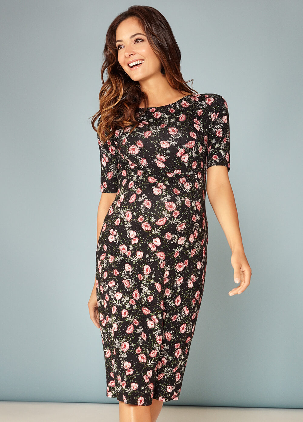 Anna Maternity Shift Dress in Ruby Bloom by Tiffany Rose