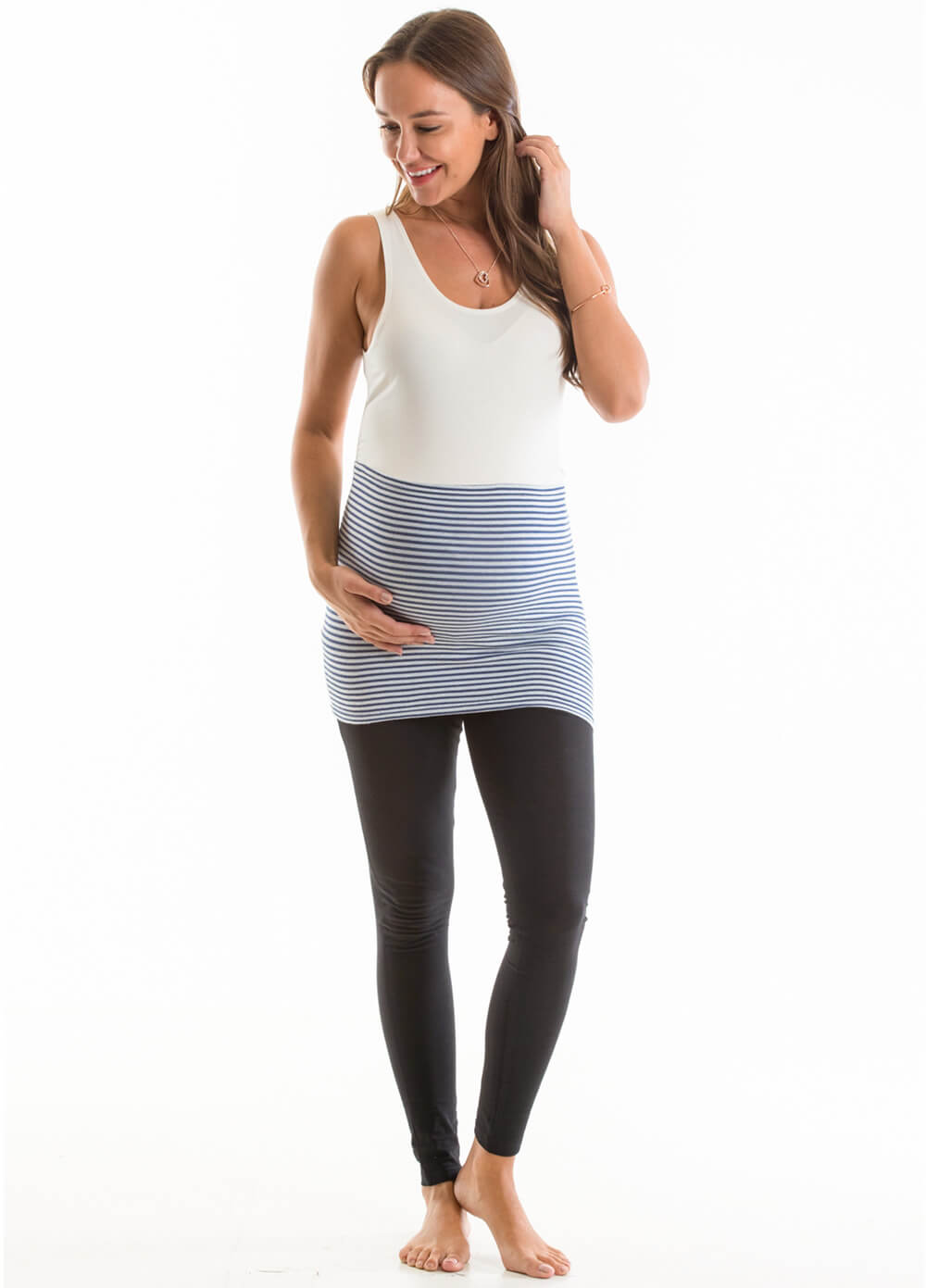 Ellia Maternity Belly Band in Navy Stripes by Queen Bee