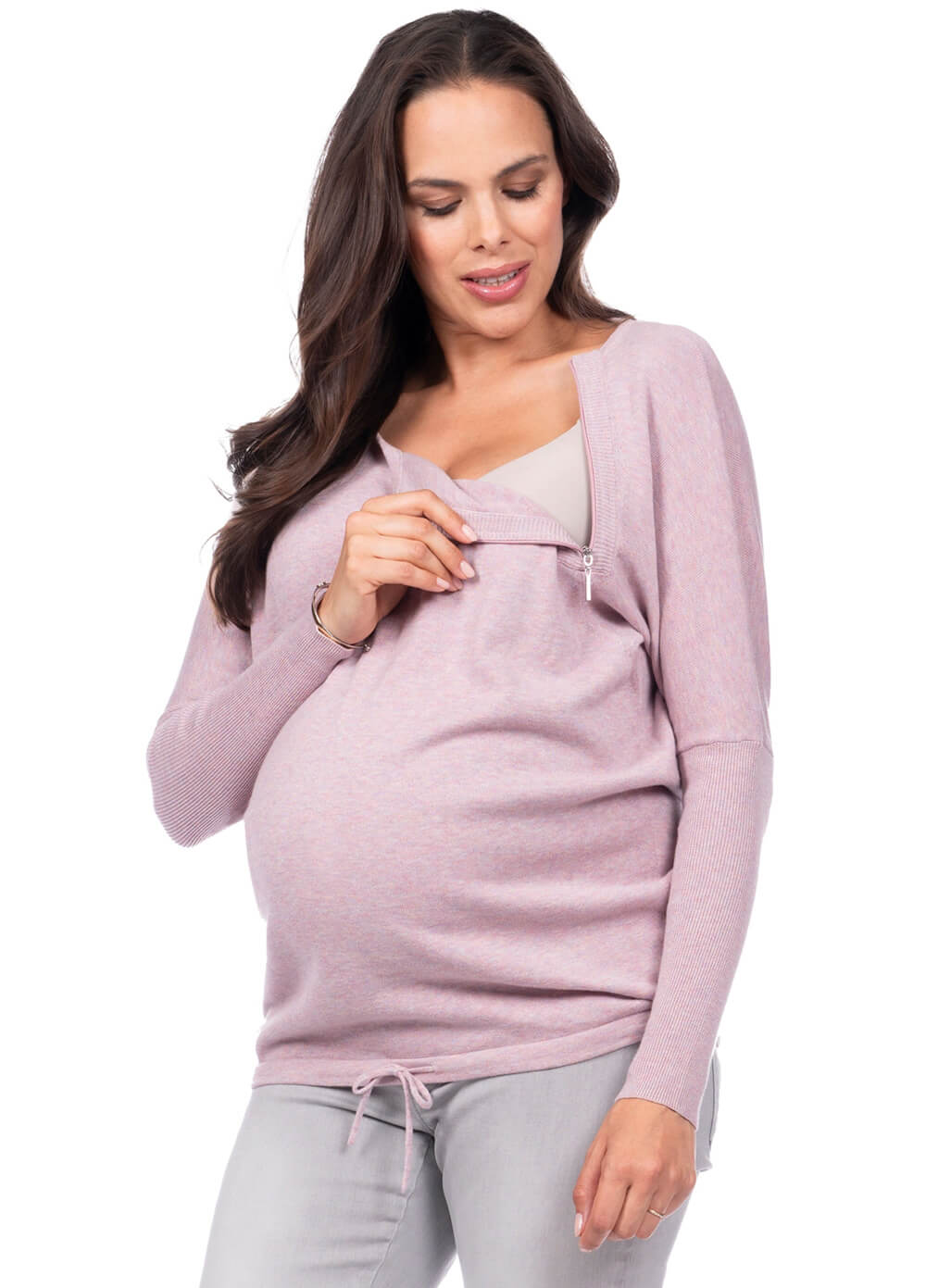 Elowen Maternity Nursing Sweater in Pink by Seraphine