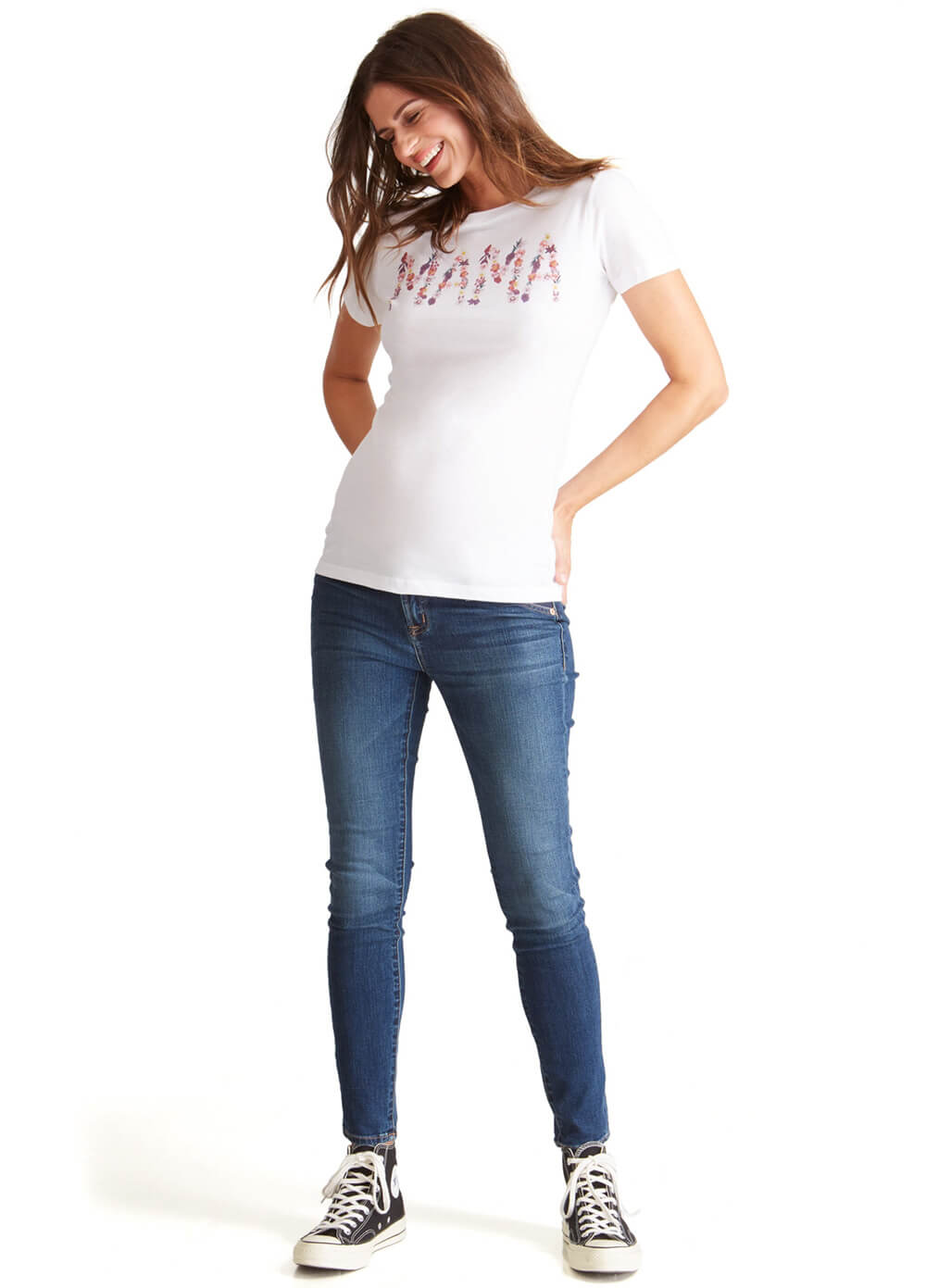 Mama Graphic Maternity Tee in White by Ingrid & Isabel
