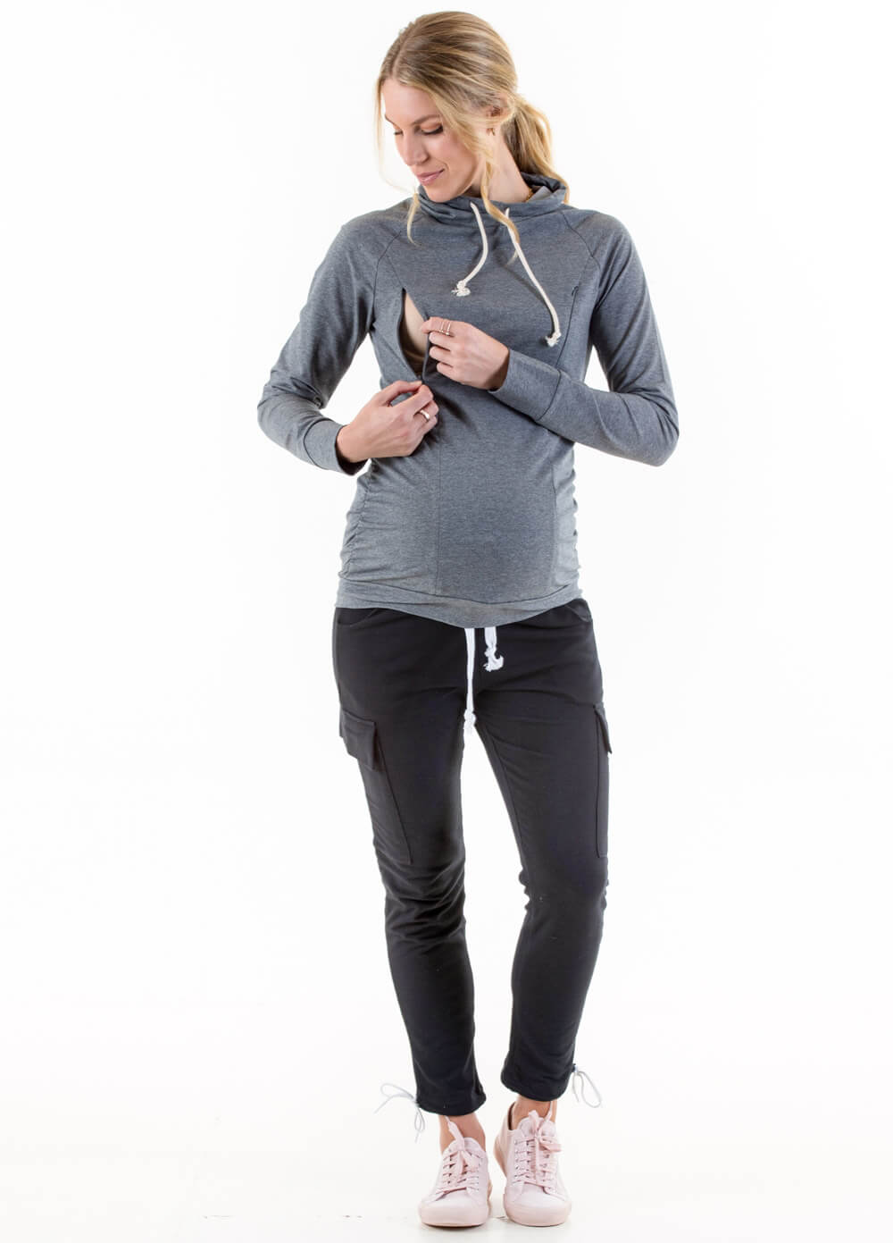 Ayette Cowl Neck Maternity Nursing Pullover in Grey by Lait & Co