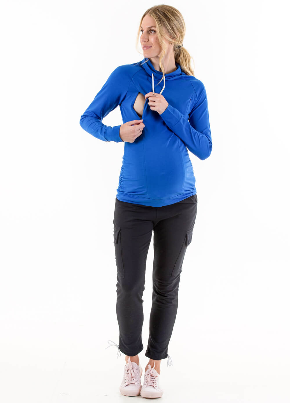 Ayette Cowl Neck Maternity Nursing Pullover in Blue by Lait & Co