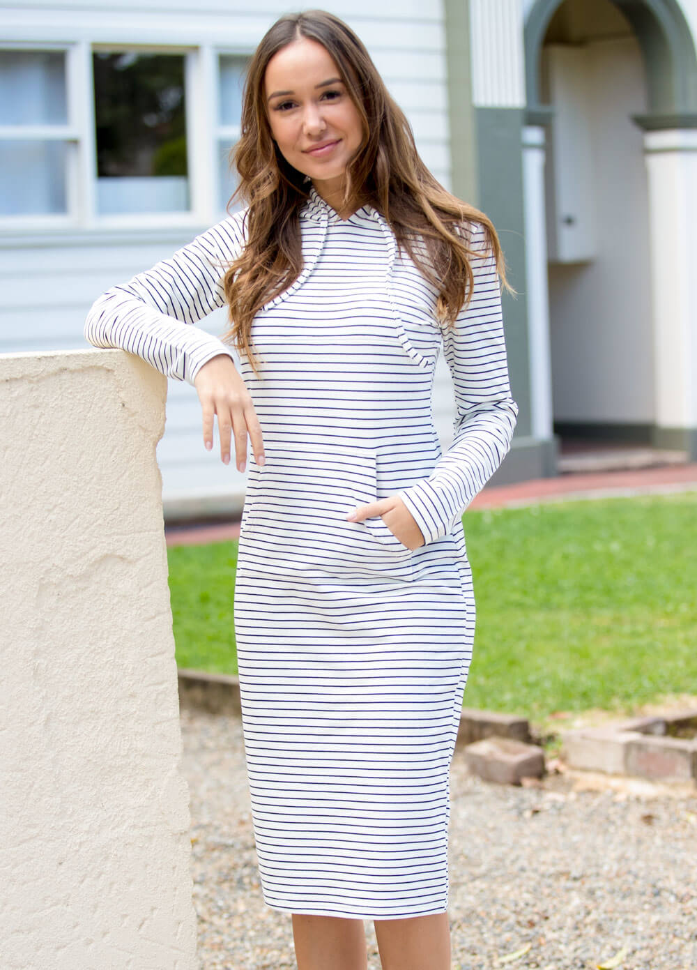 Brittany Hoodie Breastfeeding Dress in Stripes by Lait & Co