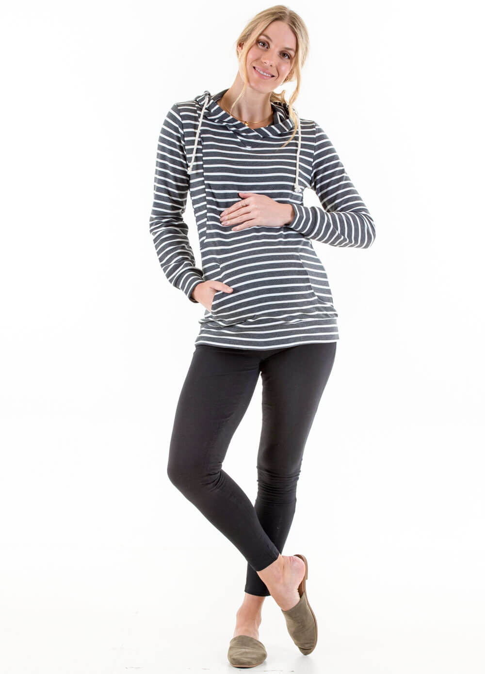 Danze Maternity Nursing Hoodie in Charcoal Stripe by Lait & Co