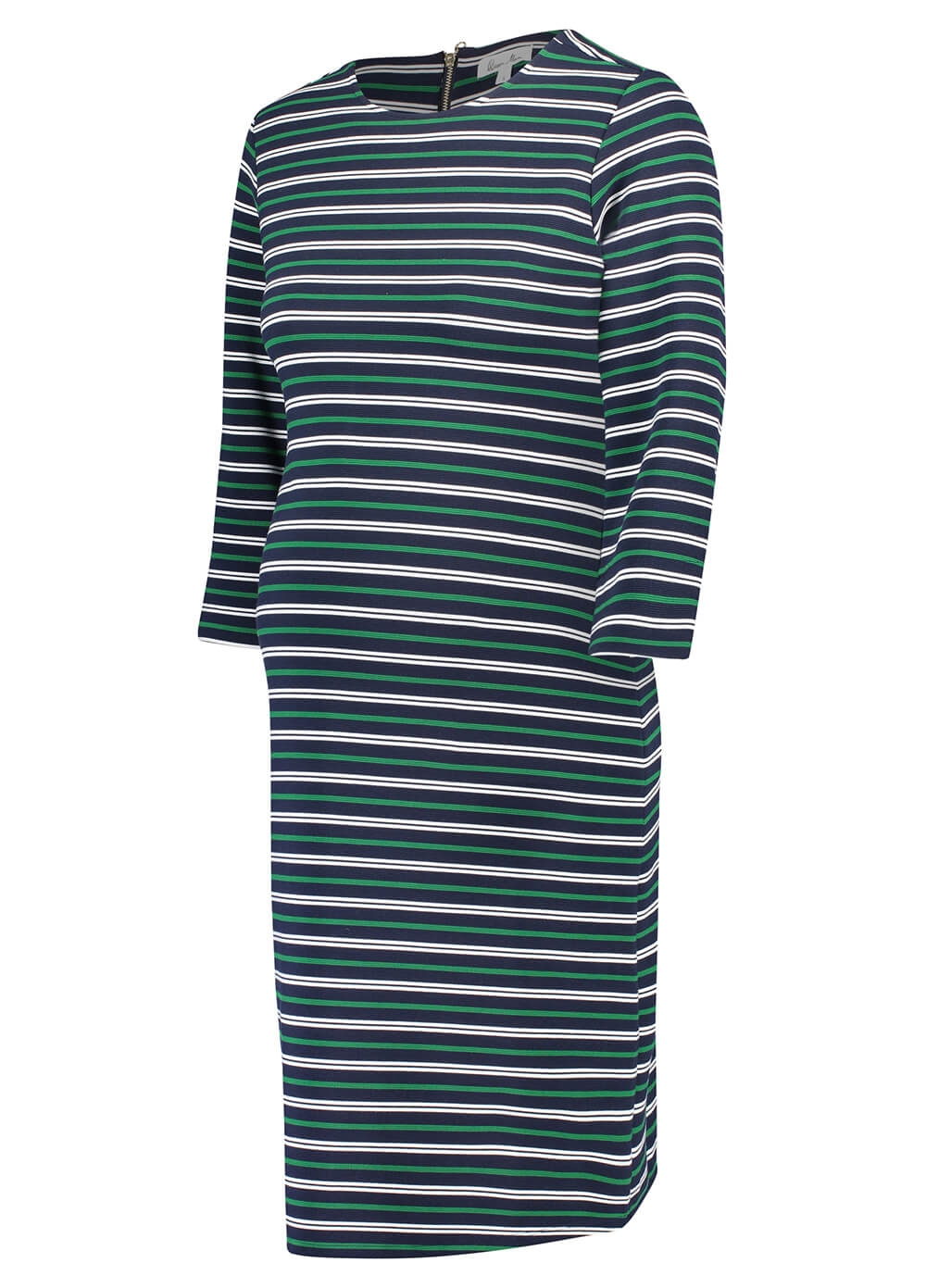 Sky Captain Maternity Shift Dress in Green Stripes by Queen mum