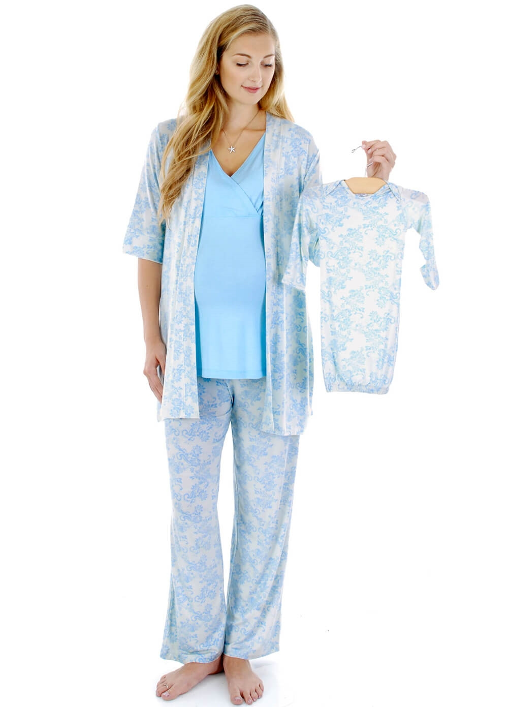 Roxanne Mommy & Me PJ Gift Set in Blue Chantilly by Everly Grey