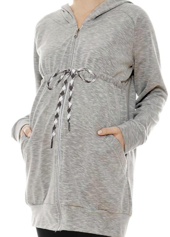 Jessica Zip Front Hooded Maternity Sweatshirt in Grey by Imanimo