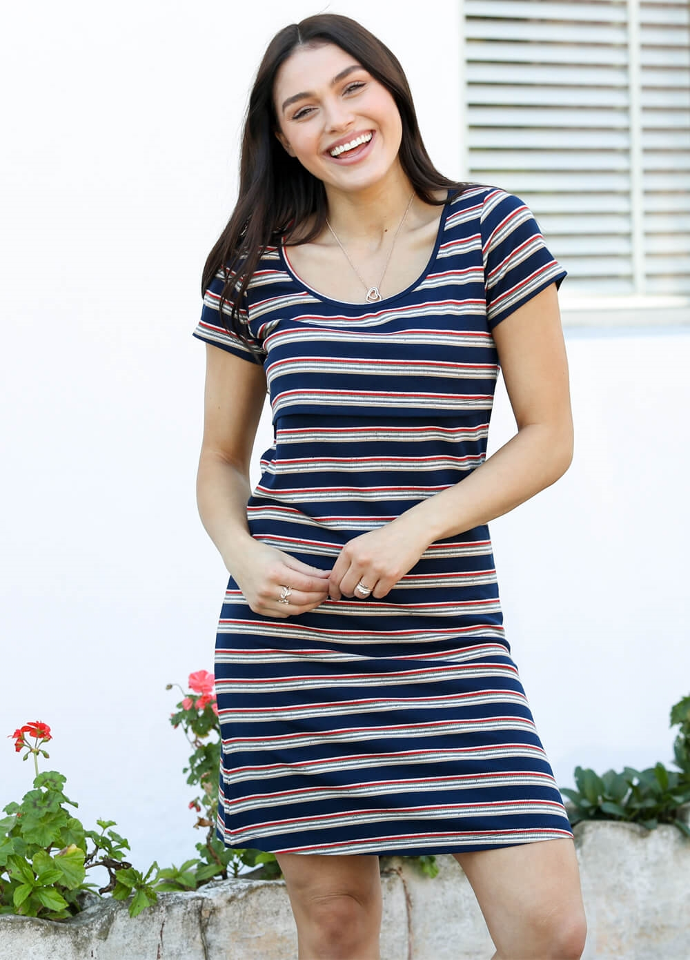 Reese Nursing Dress in Navy Multi Stripe by Trimester® Clothing