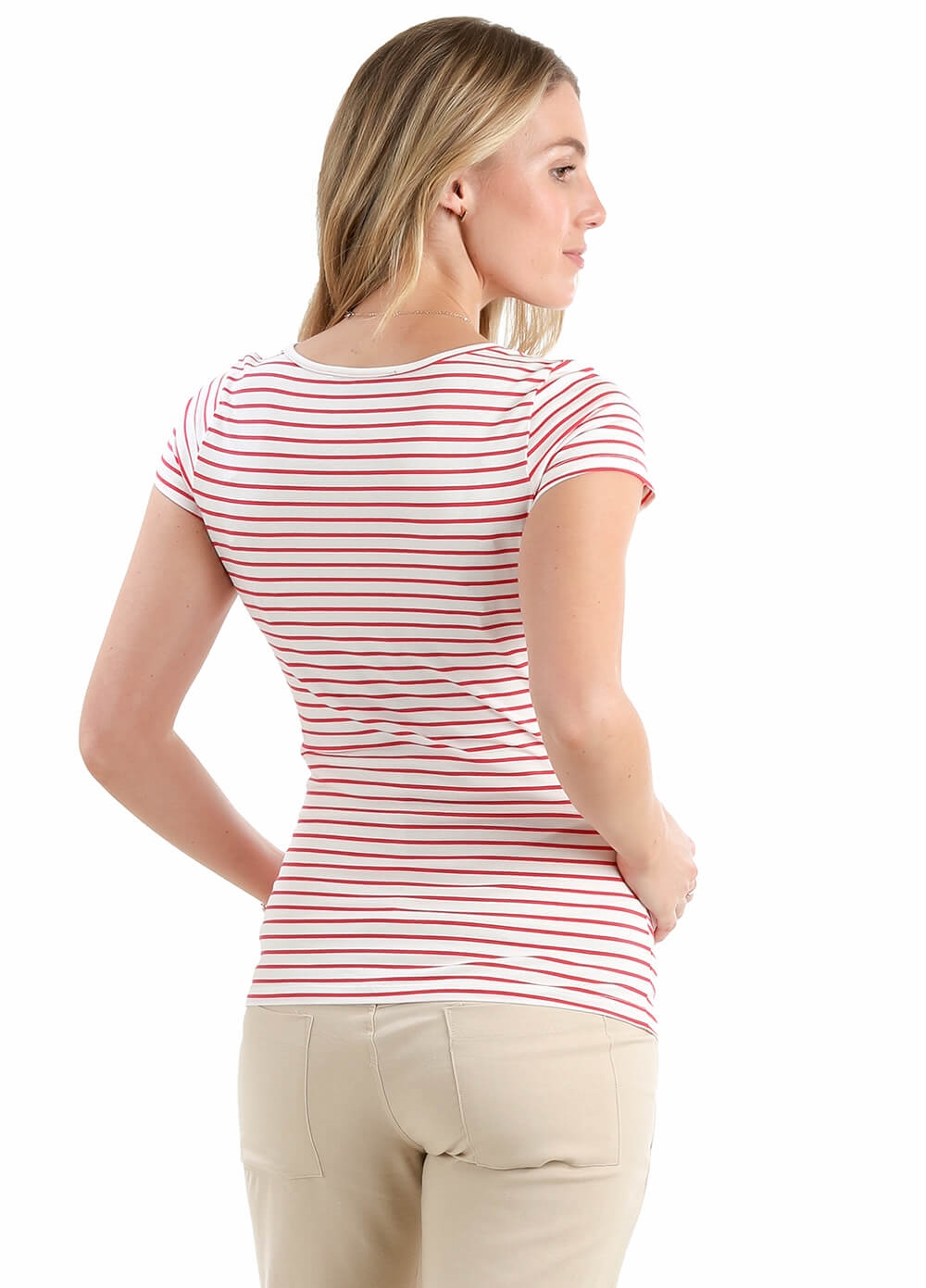 Lily Dream Maternity Tee in Pink Stripe by Trimester Clothing