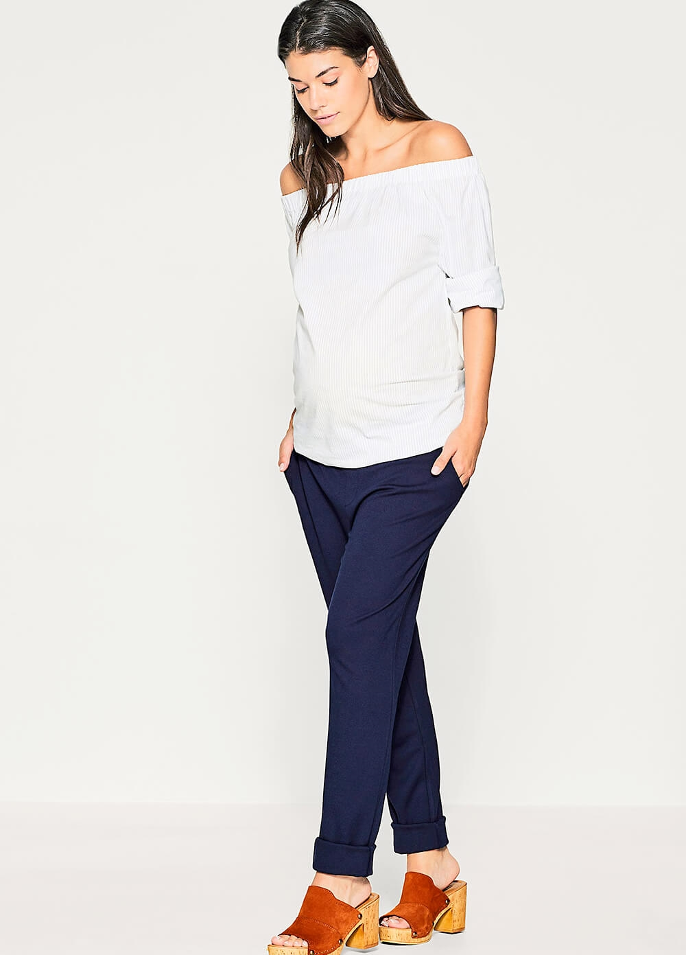 Off Shoulder Pinstriped Maternity Blouse by Esprit