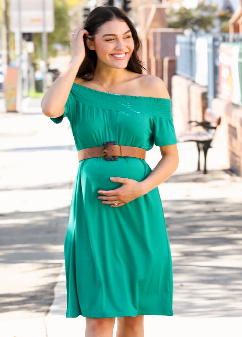 Trimester - Drake Off Shoulder Maternity Dress in Jade | Queen Bee
