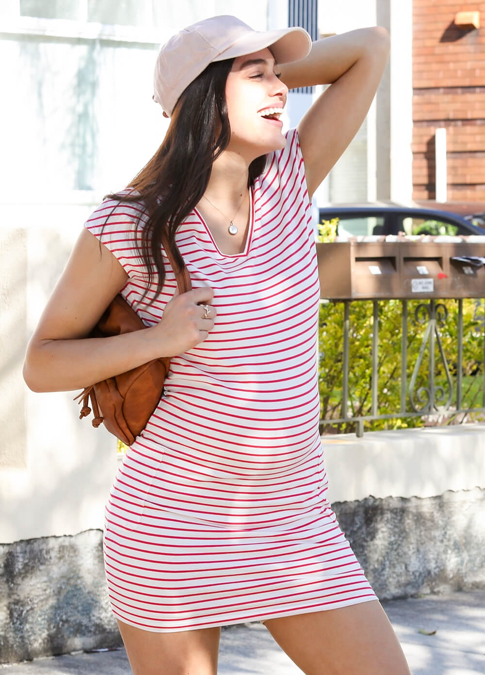 Ava Pocket Maternity Dress in Pink Stripe by Trimester Clothing