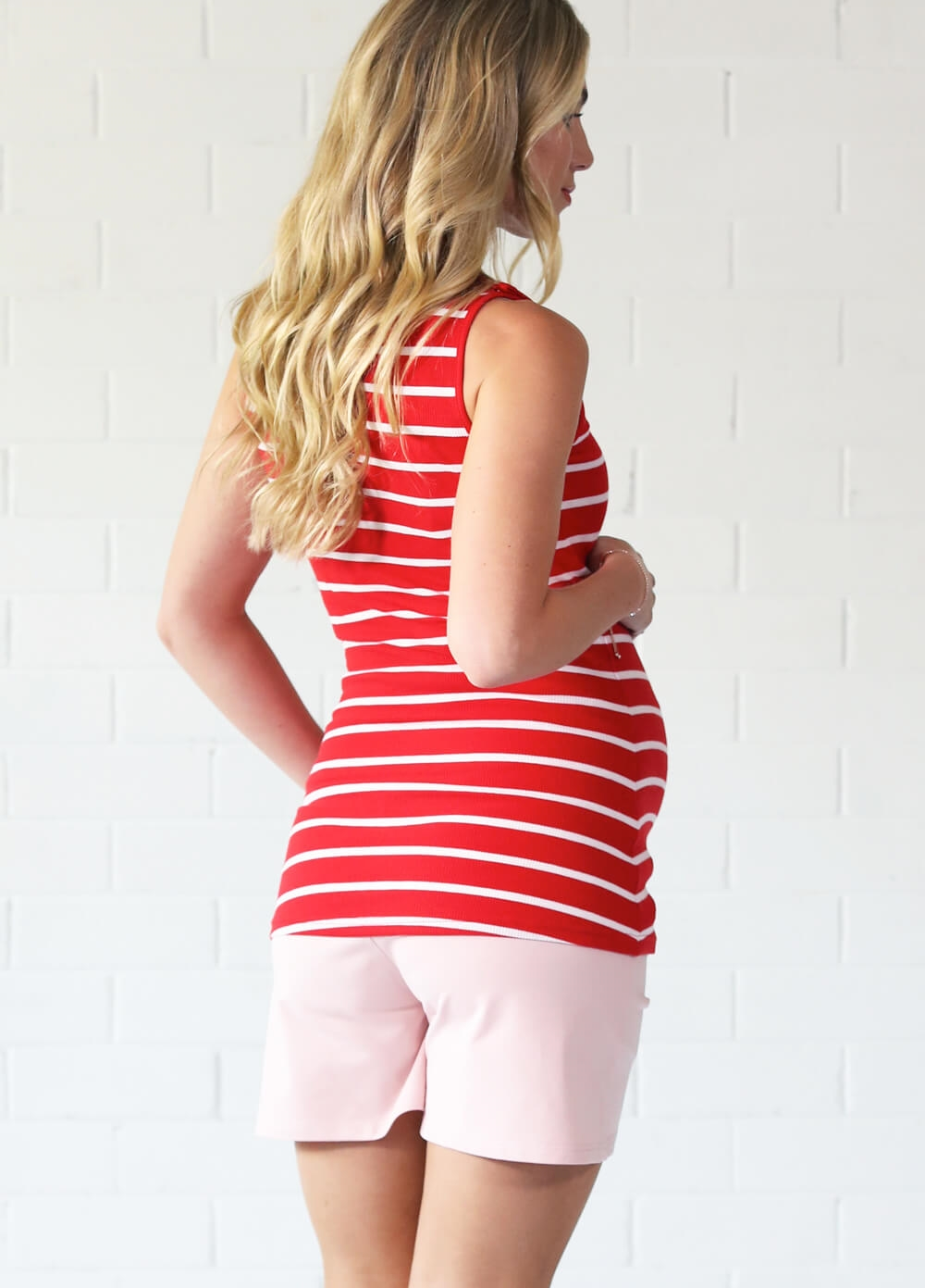 Laurina Red Striped Nursing Tank Top by Trimester Clothing