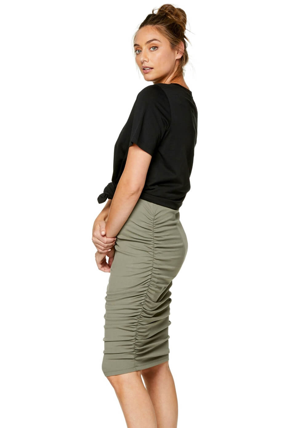 Bae - Count Your Blessings Maternity Skirt in Khaki | Queen Bee