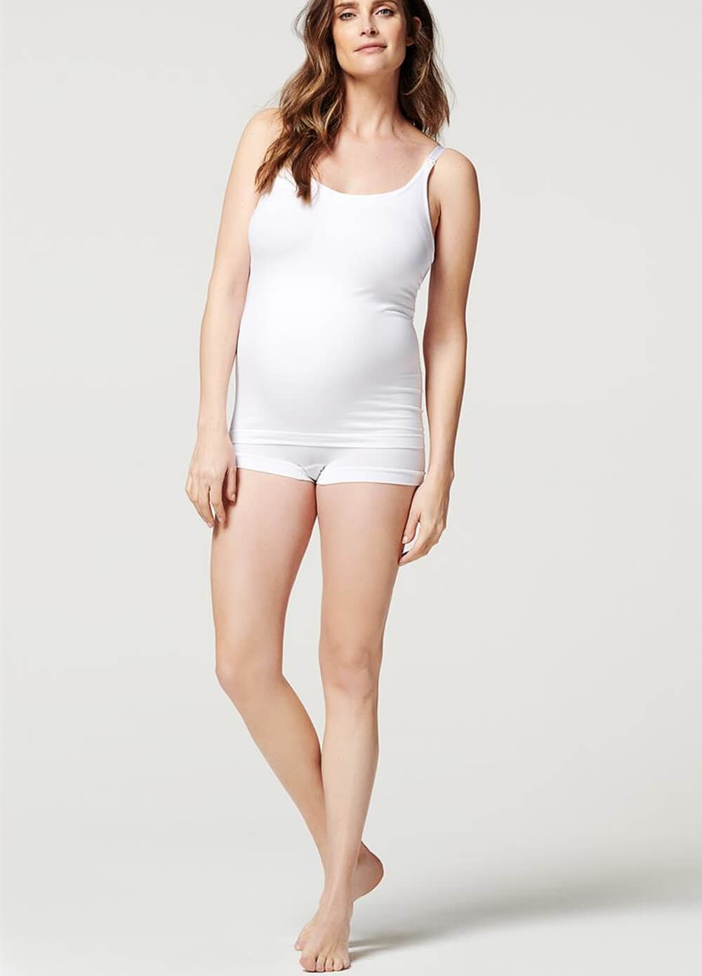 Seamless Maternity Nursing Cami in White by Noppies | Queen Bee