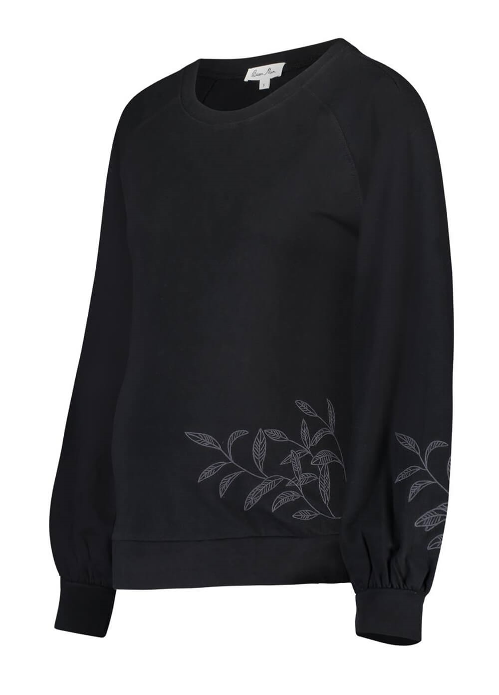 Queen mum - Embroidered Leaf Organic Maternity Sweater | Queen Bee