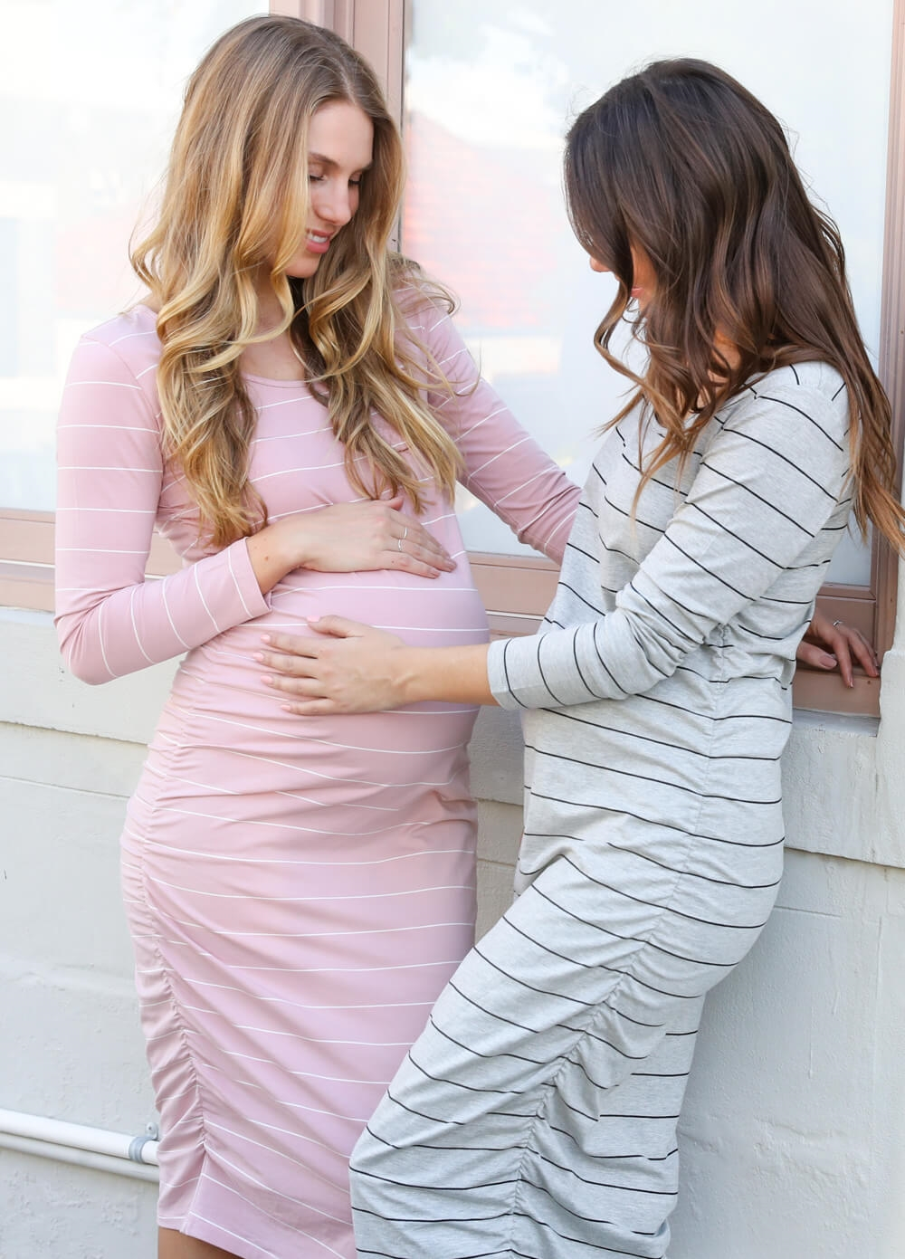 Stevie Pink Striped Maternity Midi Dress by Trimester