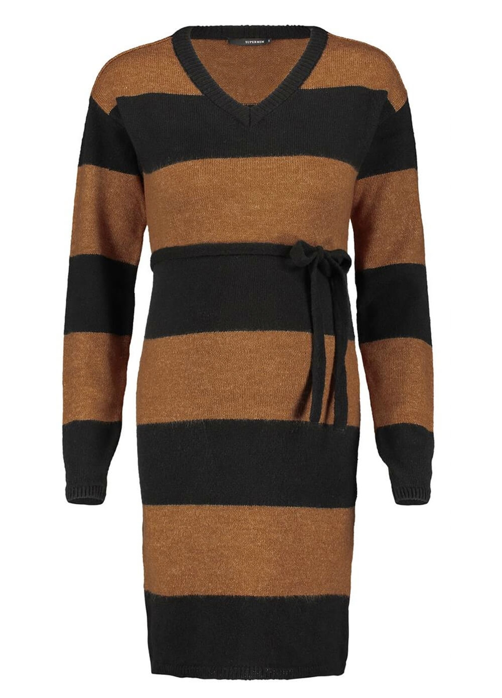 Supermom - Block Stripe Maternity Knit Sweater Dress | Queen Bee