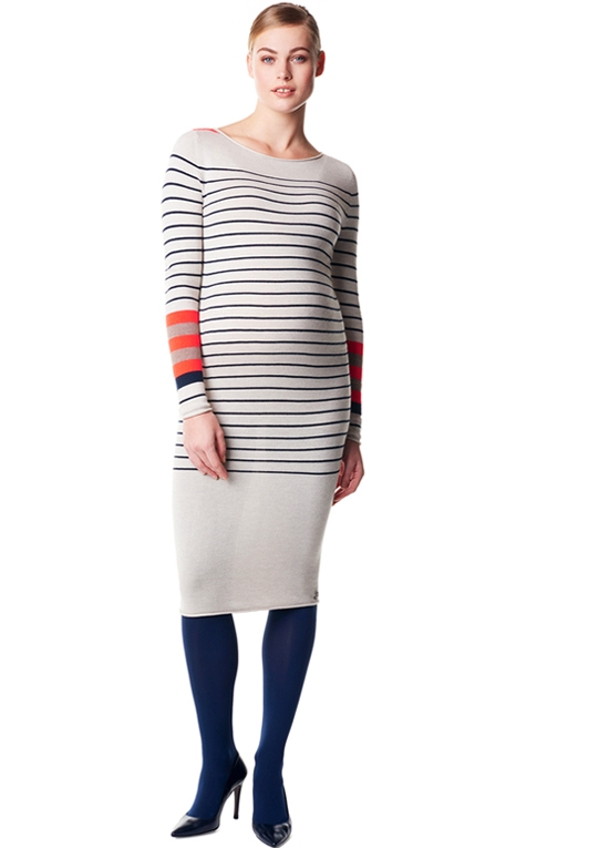 Paris Striped Knit Maternity Midi Dress by Noppies