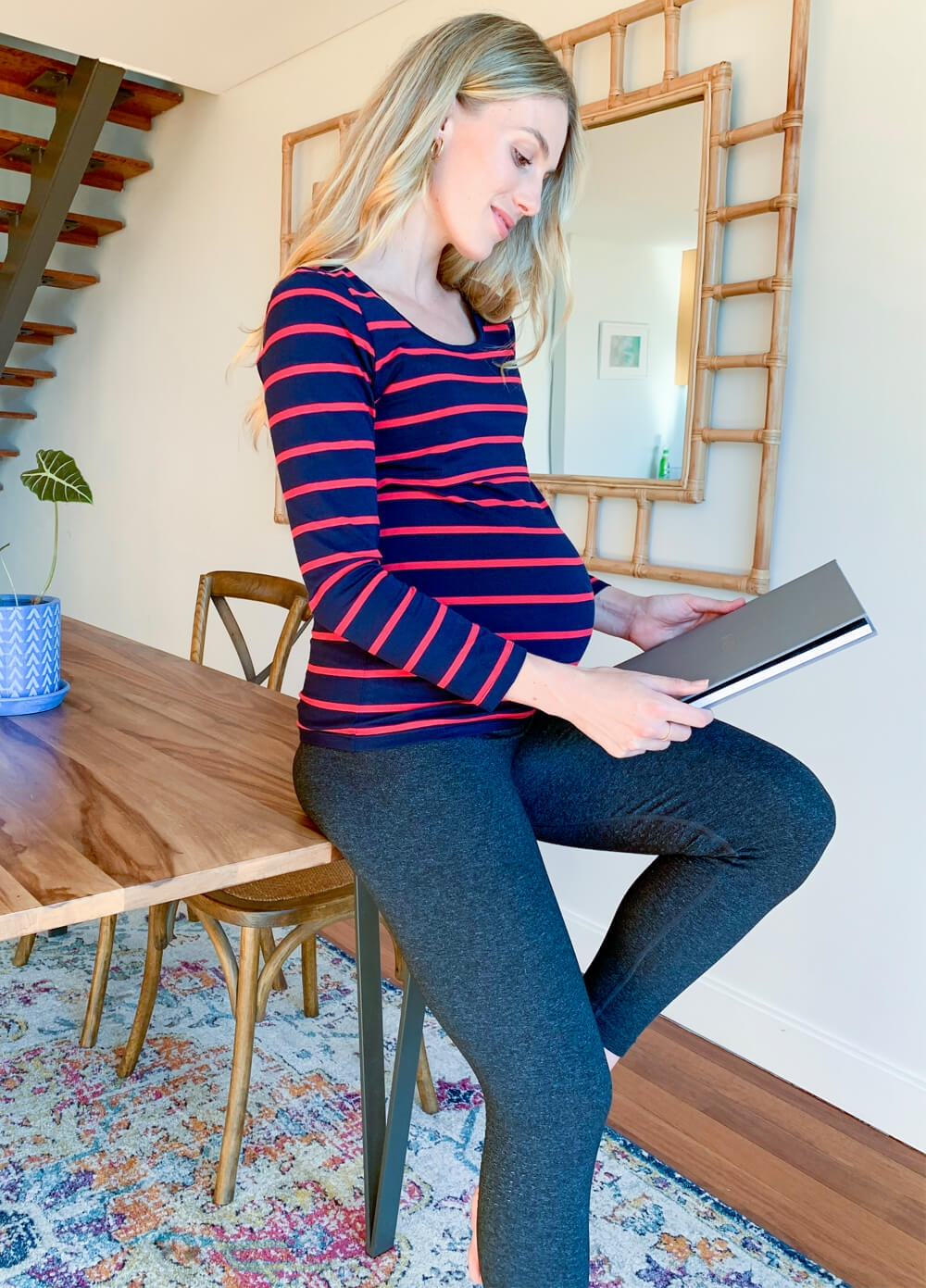 Jenina Long Sleeve Nursing Top in Navy/Red Stripes by Trimester