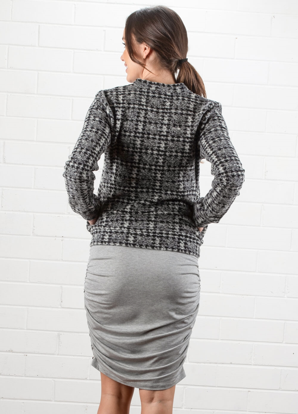 Jade Zip Maternity Blazer in Grey Print by Queen mum