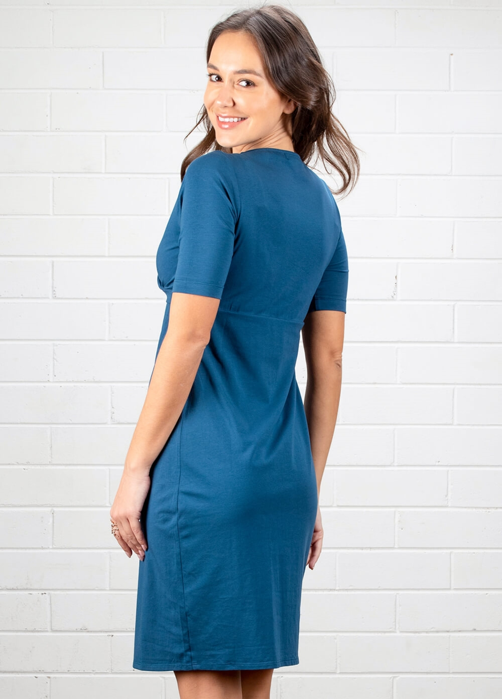 Ellen Teal Blue Breastfeeding Wrap Dress by Dote Nursingwear