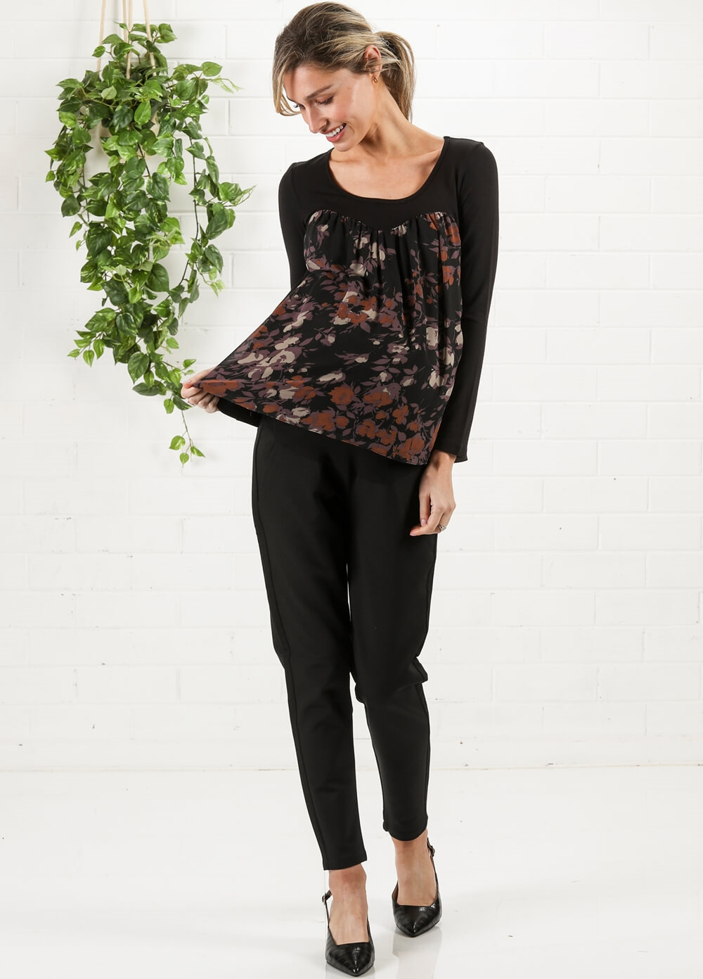 Black/Lilac Floral Chiffon Maternity Top by Maternal America