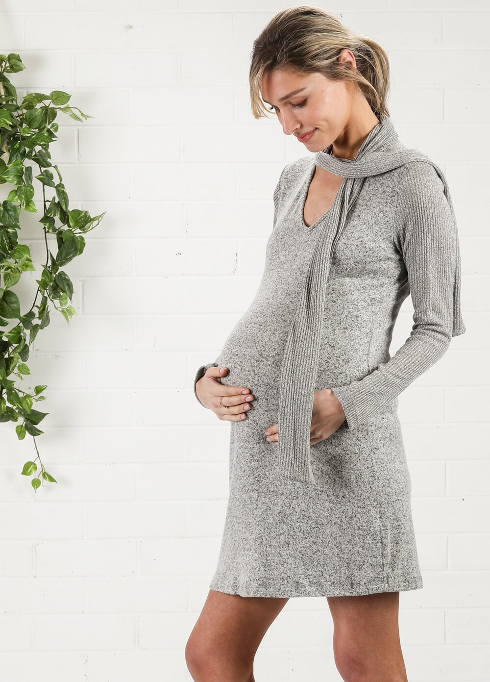 Maternal America - Scarf Tie Maternity Knit Dress | Queen Bee