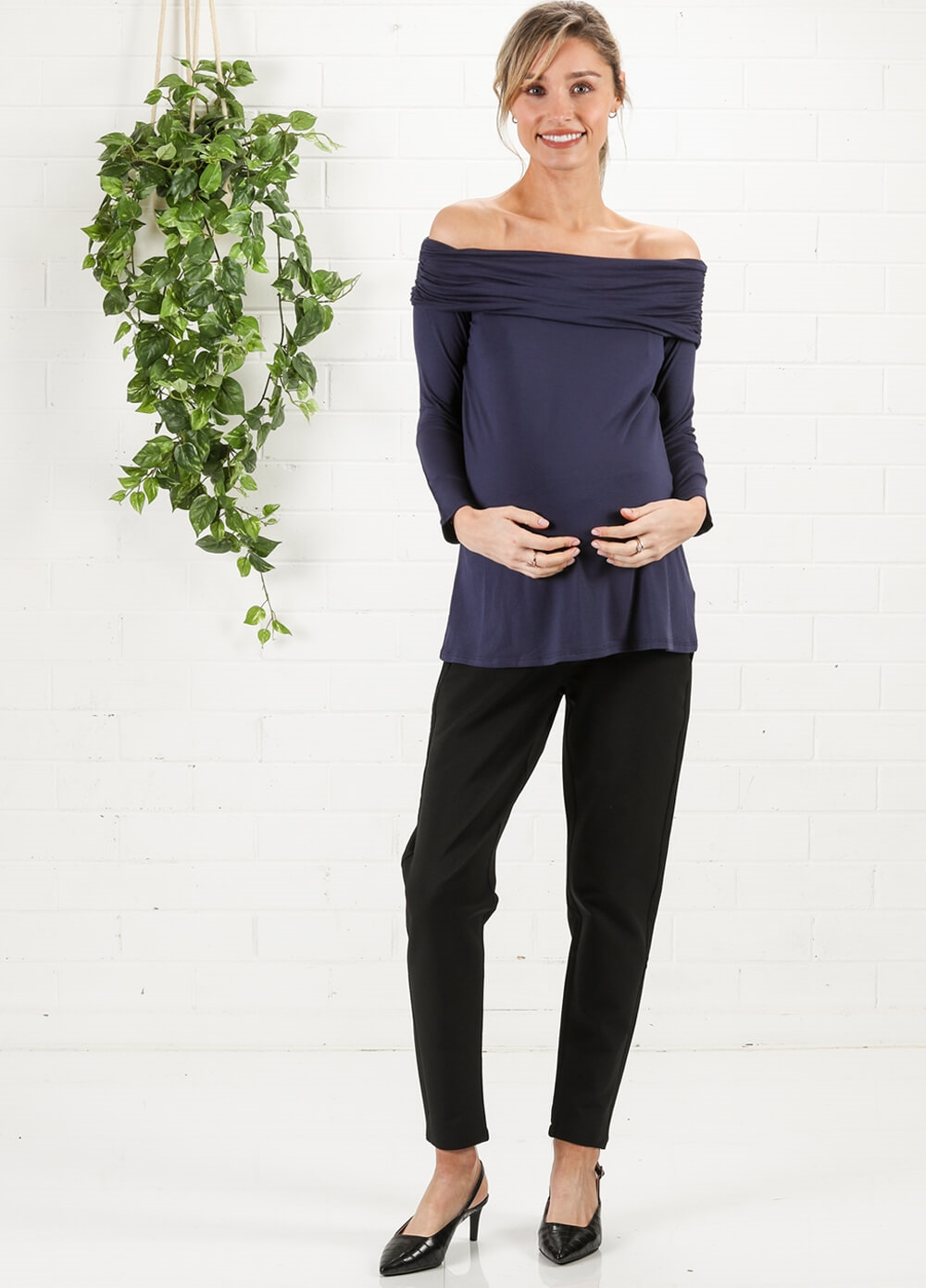 Off Shoulder Maternity Top in Navy by Maternal America