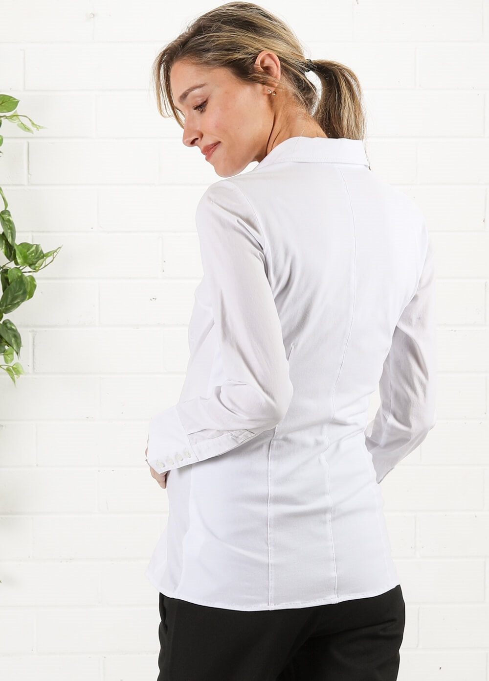 White Collared Maternity Work Shirt by Queen mum | Queen Bee