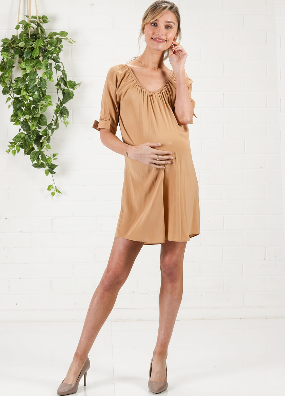 Champagne Gold Holiday Maternity Shirt Dress by More of Me