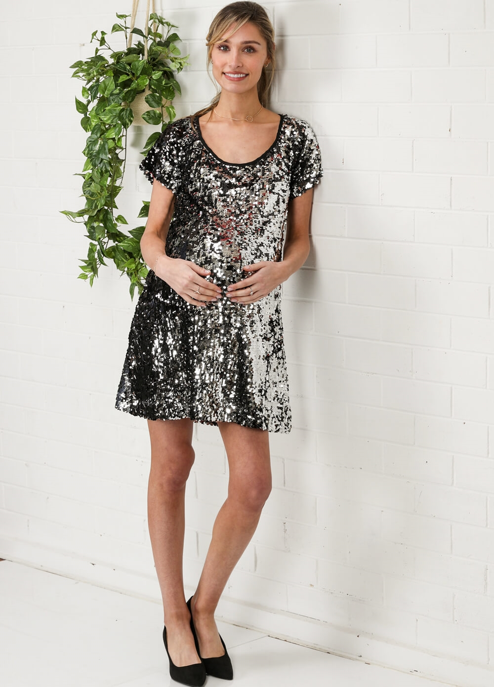 Black Sequin Maternity Party Dress by More of Me
