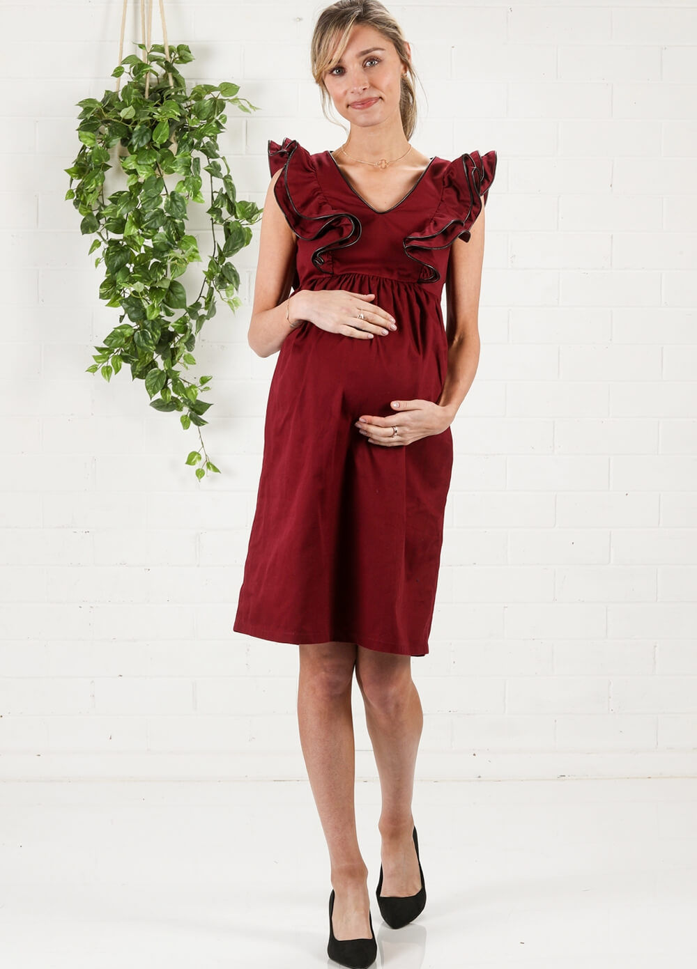 Piper Burgundy Maternity Dress by More of Me