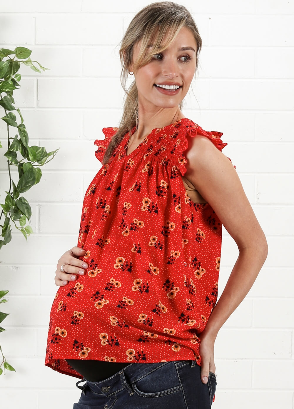 Koa Smocked Ruffle Maternity Nursing Blouse in Poppy by Everly Grey