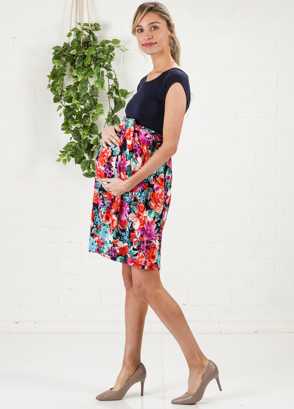 Floral Garden Scoop Front Tie Maternity Dress by Maternal America