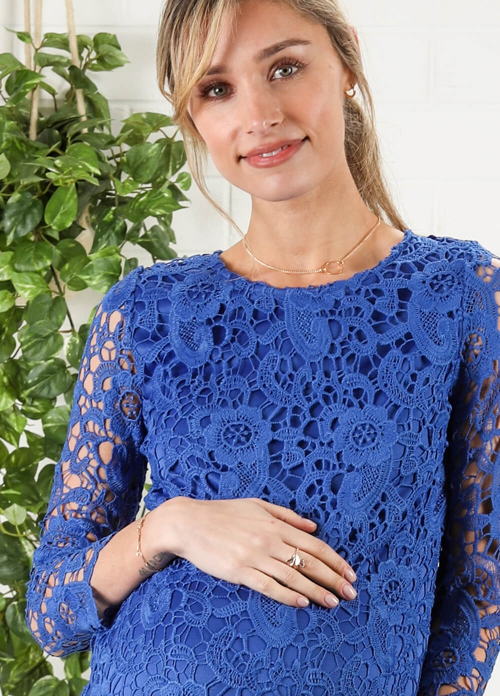 Blue Crochet Lace Maternity Dress by Maternal America