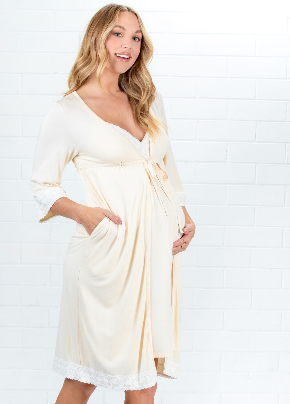 Lait & Co - Moselle Buttermilk Pregnancy Robe | Queen Bee
