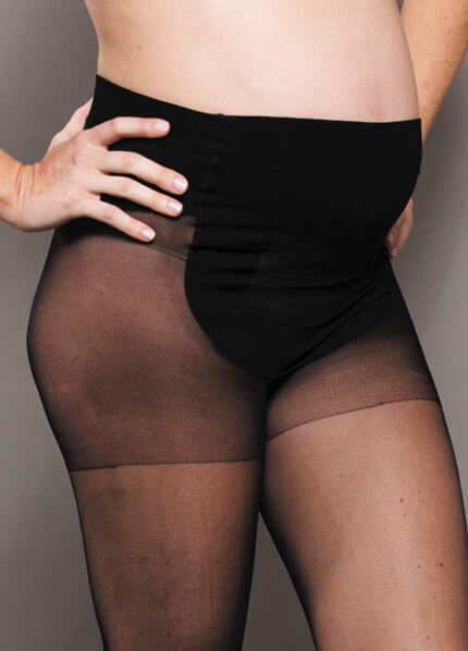Baby Bump Black Sheer Maternity Tights by Ambra