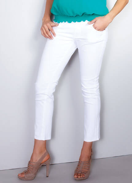 White Skinny Ankle Maternity Jeans by Maternal America