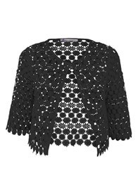 Queen mum - Cropped Black Lace Jacket