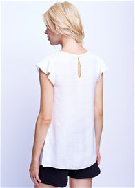 Maternal America - Flutter Cap Sleeve Top in White - ON SALE