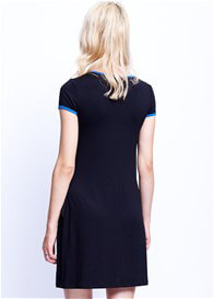 Maternal America - Cross Over Nursing Dress in Black/Royal